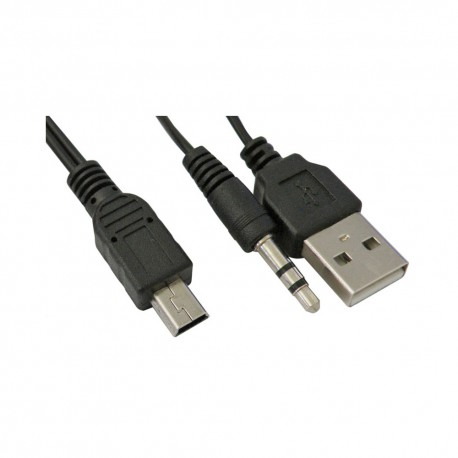 Mini USB 5 pins a USB + Jack